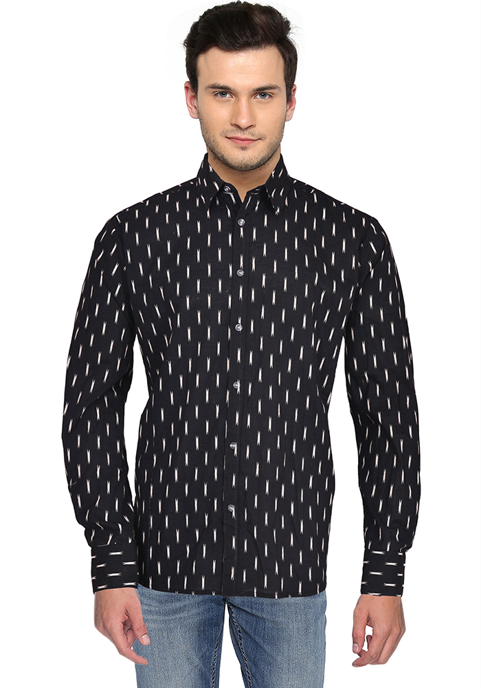 Black White Ikat Cotton Shirt-33163