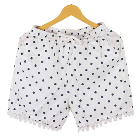 Black White Polka Cotton Block Print Short-14669