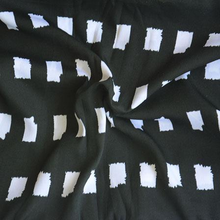 Black White Polka Crepe Silk Fabric-18210