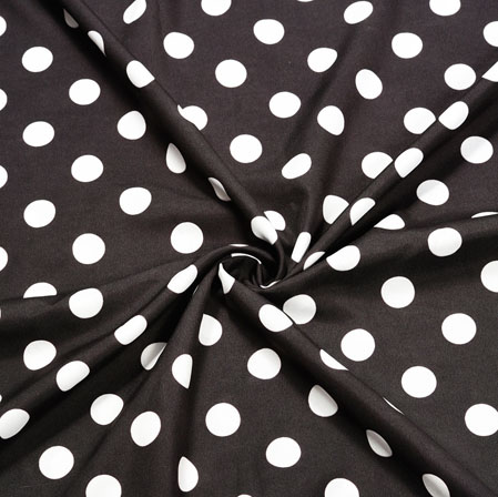 Black White Polka Crepe Silk Fabric-41118