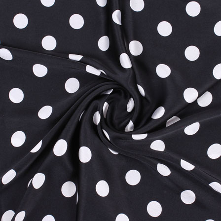 Black White Polka Japan Satin Fabric-18186