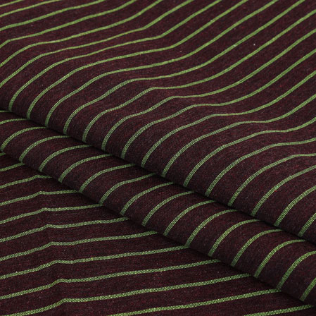 Black White Stripe Handloom Cotton Fabric-40930