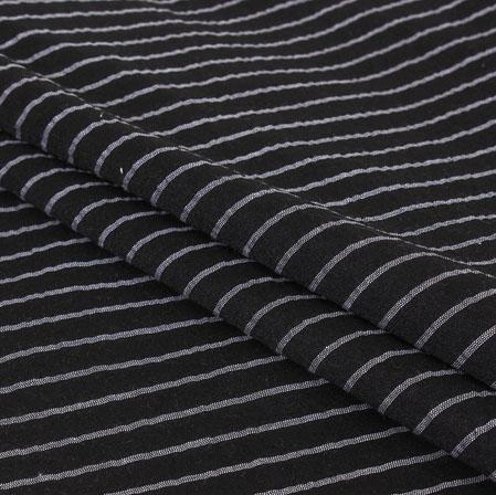 Black White Stripe Handloom Cotton Fabric-40968