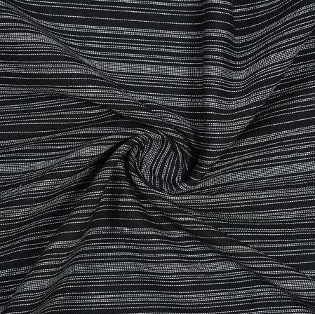 Black White Striped Handloom Cotton Fabric-40830