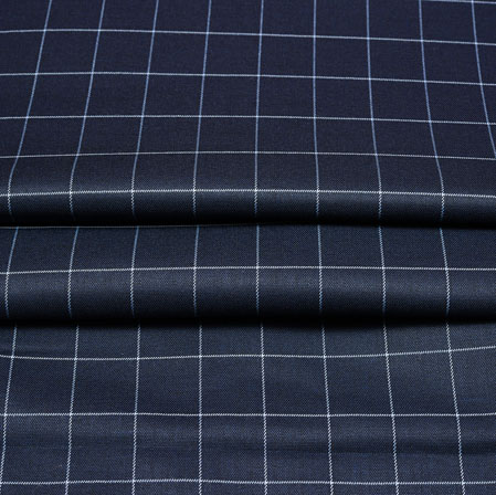 Black White Checks Wool Fabric-90221
