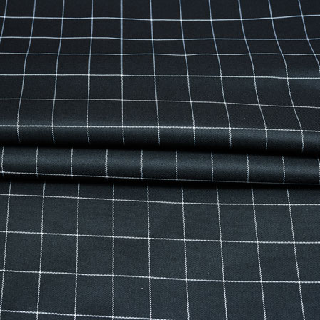 Black White Checks Wool Fabric-90225