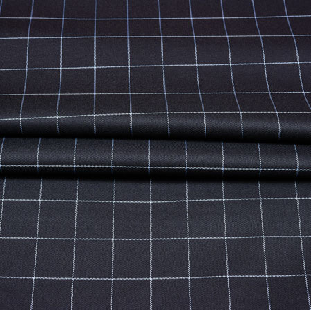 Black White Checks Wool Fabric-90235