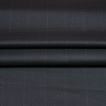 Black White Checks Wool Fabric-90239