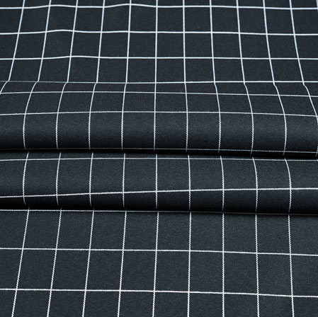 Black White Checks Wool Fabric-90242