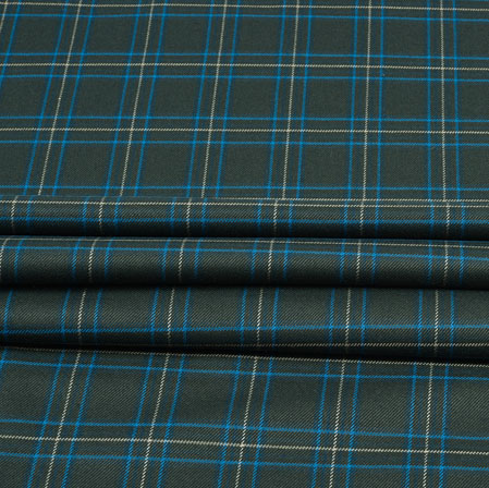 Black White and Blue Check Wool Fabric-90118