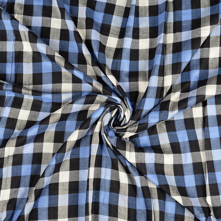 Black-White and Blue Checks Rayon Shirt Fabric-40244