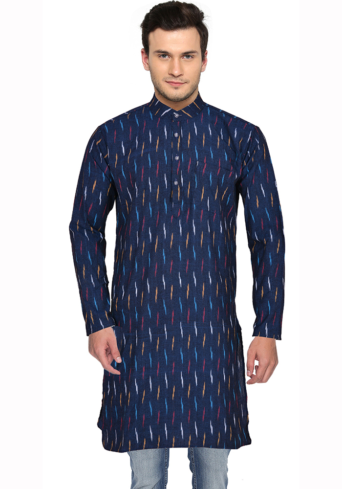 Black White and Blue Ikat Cotton Khadi Long Kurta-33168