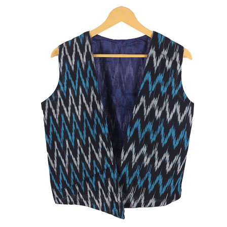 Black White and Blue Sleeveless Ikat Cotton koti jacket-12282