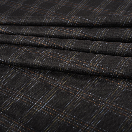 Pure Wool Blazer Fabric (2 MTR)  - Black-White and Brown Checks Tweed Wool-40313
