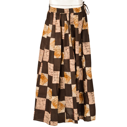 Black-White and Brown Square Design  Block Print Cotton Long Skirt-23107