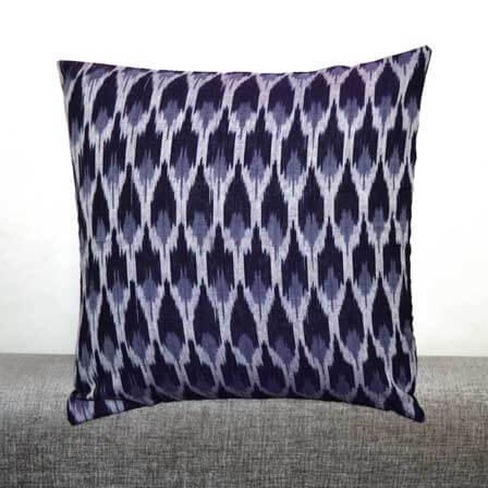 Black White and Gray Ikat  Cushion Cover