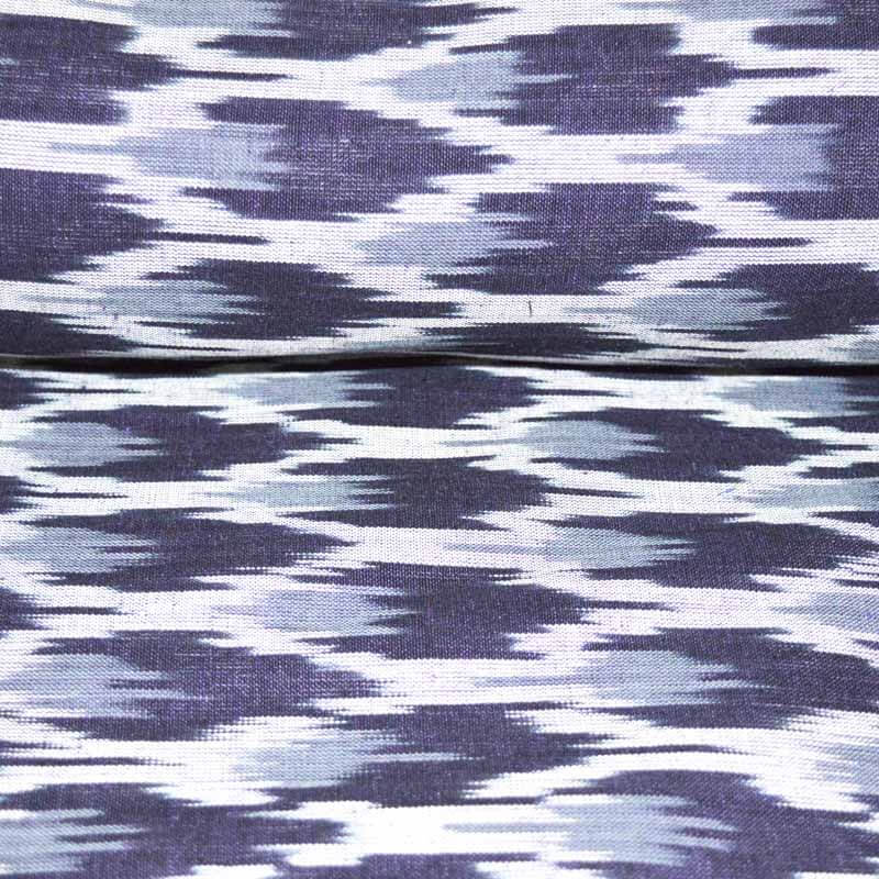 Black White and Gray Ikat Fabric by the Yard