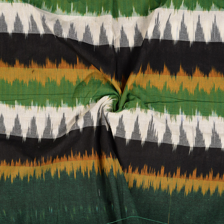 Black-White and Green 3D Cotton Ikat Fabric-12100