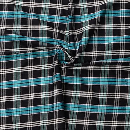 Black-White and Green Checks Design Cotton Handloom Khadi Fabric-40181