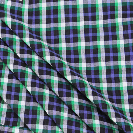 Black-White and Green Checks Handloom Cotton Khadi Fabric-40049