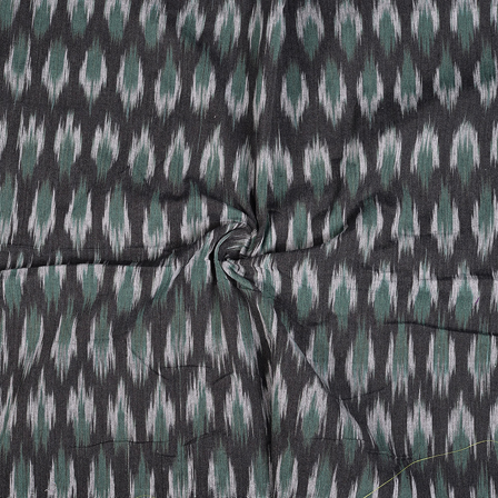Black-White and Green Cotton Ikat Fabric-12092