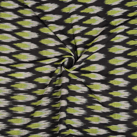 Black-White and Green Cotton Ikat Fabric-12112