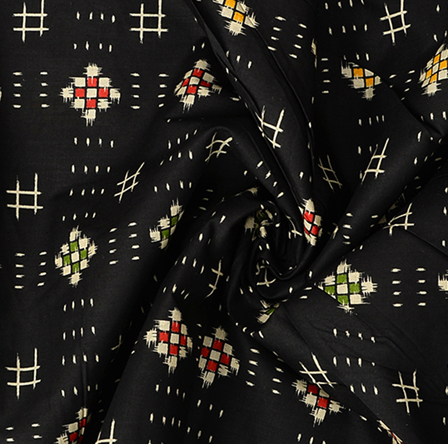 Black-White and Green Square Cotton Kalamkari Fabric-10089