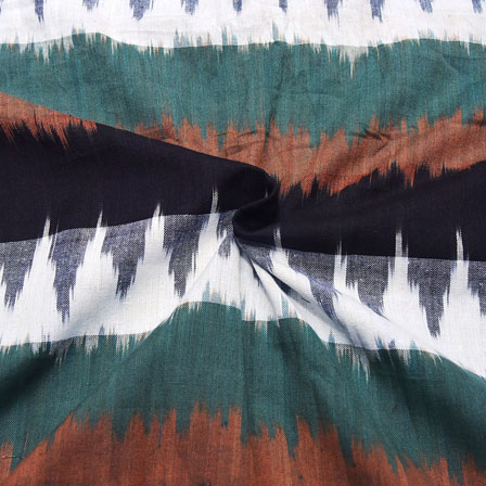 Black-White and Green Unique Design Ikat Fabric-12042