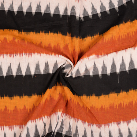 Black-White and Orange 3D Cotton Ikat Fabric-12102
