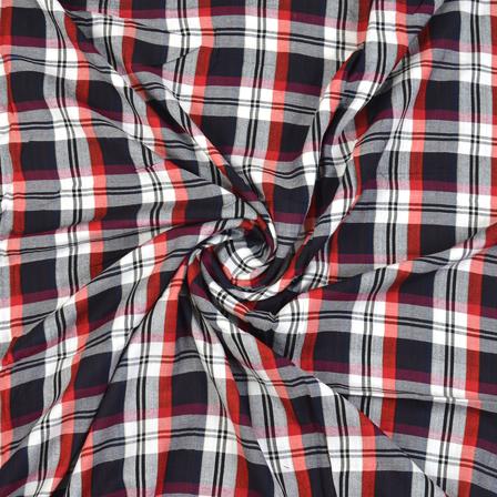Black-White and Orange Checks Cotton Handloom Khadi Fabric-40276