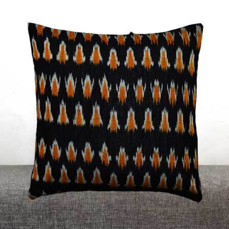 Black White and Orange Hand Woven Ikat Print Cushion Cover