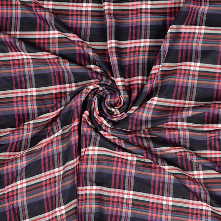 Black-White and Pink Checks Rayon Shirt Fabric-40231