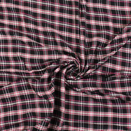 Black-White and Pink Checks Rayon Shirt Fabric-40269