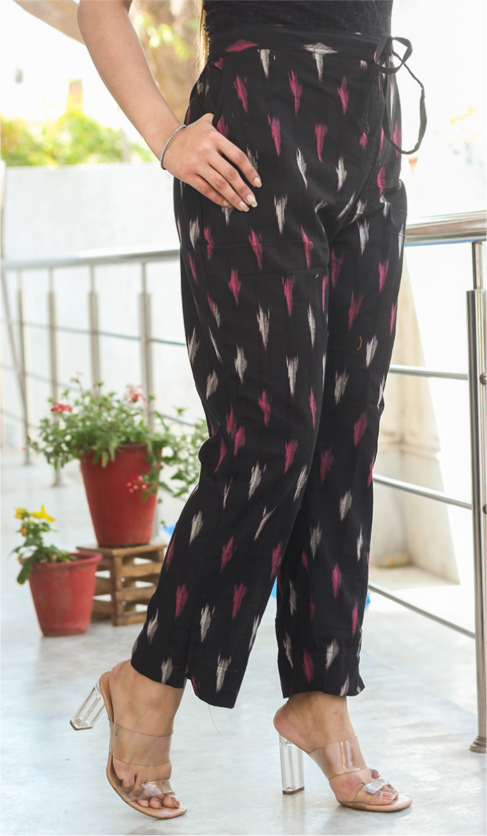 Black White and Pink Cotton Ikat Ankle Women Pant-34666