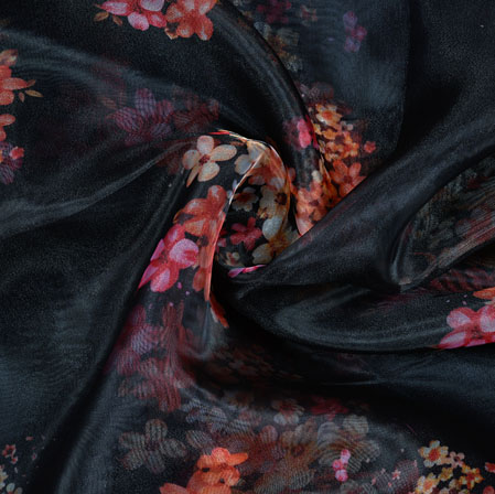 Black White and Pink Floral Organza Digital Silk Fabric-22343