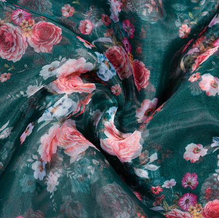 Green White and Pink Floral Organza Digital Silk Fabric-22364