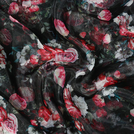 Black White and Pink Floral Organza Silk Fabric-22113