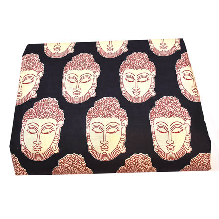 Black-White and Red Buddha Face Kalamkari Cotton Fabric-5796