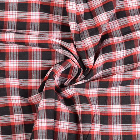 Black-White and Red Checks Cotton Handloom Khadi Fabric-40289