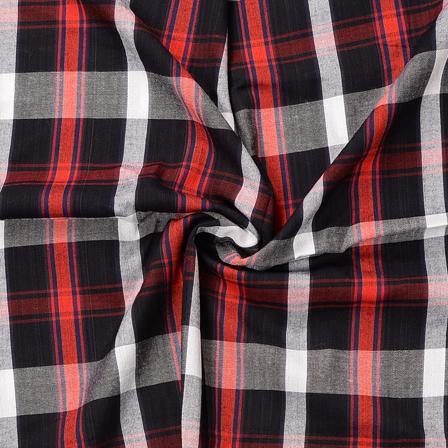 Black-White and Red Checks Design Cotton Handloom Khadi Fabric-40179
