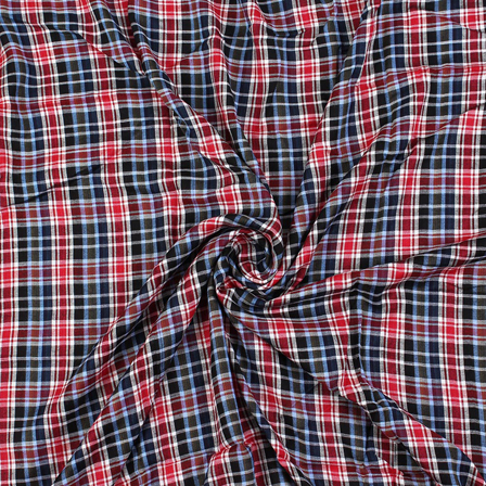 Black-White and Red Checks Rayon Shirt Fabric-40272