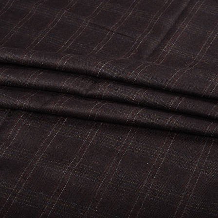 Pure Wool Blazer Fabric (2 MTR)  - Black-White and Red Checks Tweed Wool-40321