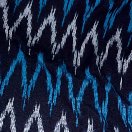 Black-White and Sky Blue Zig-Zag Shape Ikat Fabric-5716