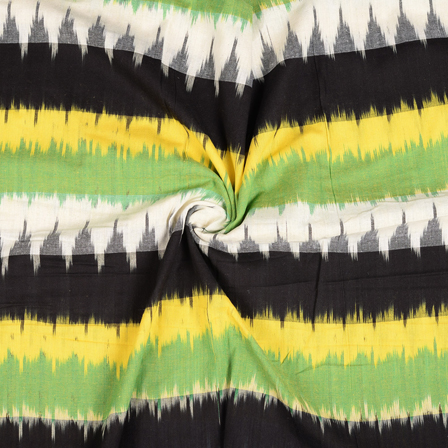 Black-White and Yellow 3D Cotton Ikat Fabric-12113