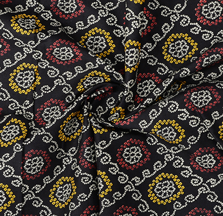 Black-White and Yellow Cotton Kalamkari Fabric-10058