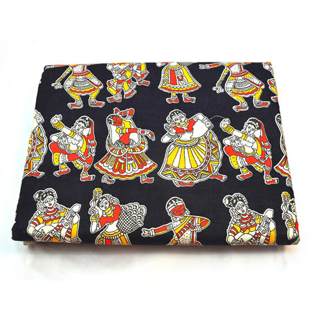 Black-White and Yellow Dancing Kalamkari Cotton Fabric-5799