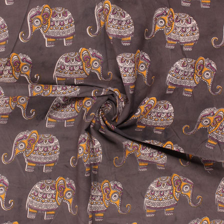 Black-White and Yellow Elephant Kalamkari Cotton Fabric-10172