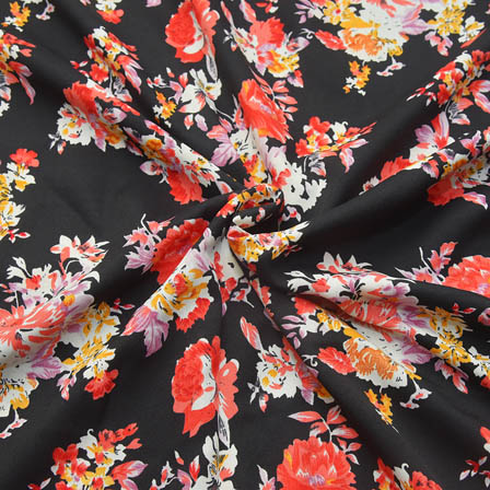 Black-White and Yellow Flower Design Crepe Fabric-18069