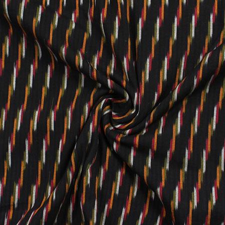 Black White and Yellow Ikat Cotton Fabric-11014