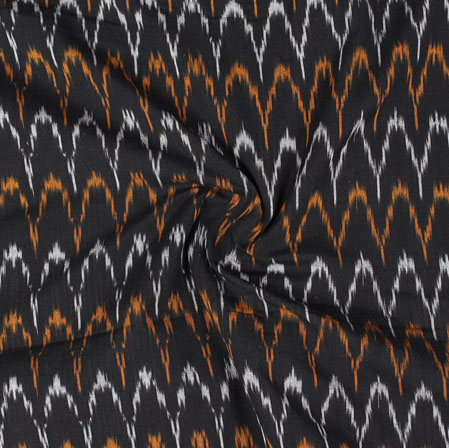 Black White and Yellow Ikat Cotton Fabric-11059